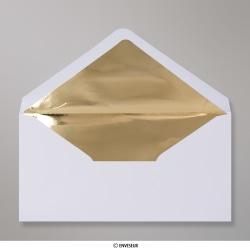 110x220 mm (DL) envelope branco forrado + papel de prata dorado
