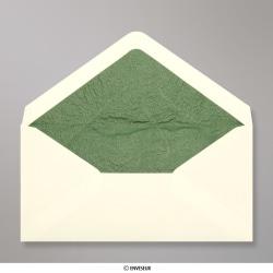 Sobre marfil forrado con papel rugoso verde de 110x220mm (DL), Marfil + Papel Rugoso Verde, Engomado
