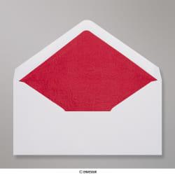 110x220 mm (DL) envelope branco forrado + papel fancy vermelho