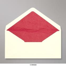 110x220 mm (DL) Enveloppe Doublée Ivoire + Papier Décoratif Texturé Rouge, Ivoire + Papier Décoratif Texturé Rouge, Gommée