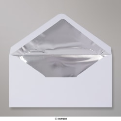 110x220 mm (DL) envelope branco forrado + papel de prata