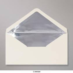 110x220 mm (DL) Sobre Marfil Forrado con Papel Aluminio Plateado, Marfil + Papel Aluminio Plateado, Engomado