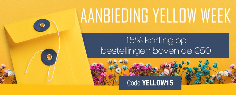 15% korting op bestellingen boven de €50. Code: YELLOW15