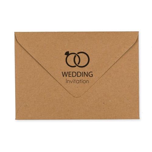 C6 KRAFT PRINTED WEDDING RINGS INVITATION ENVELOPES (PACK OF 10)