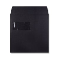 BLACK 220mm SQUARE WINDOW 180GSM PEEL AND SEAL ENVELOPES
