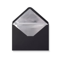 C5 Black Envelopes Lined With Silver Foil Paper