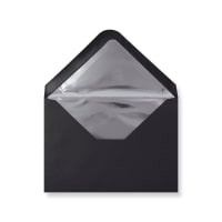 C6 Black Envelopes Lined With Silver Foil