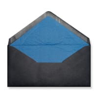 DL Black Envelopes Lined With Blue Paper