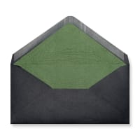 DL Black Envelopes Lined With Green Paper