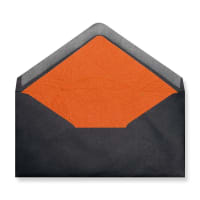 DL Black Envelopes Lined With Orange Paper