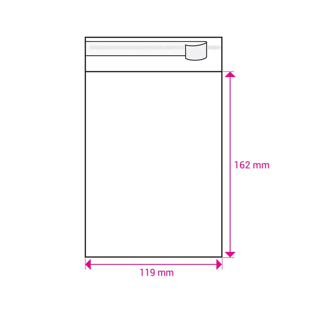 CLEAR CELLO BAGS to fit:  C6 114 x 162 mm Envelope (SELF ADHESIVE)