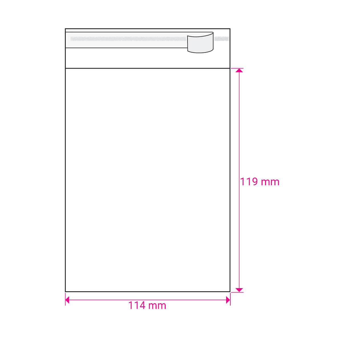 CLEAR CELLO BAGS to fit: 113 mm Square (SELF ADHESIVE)
