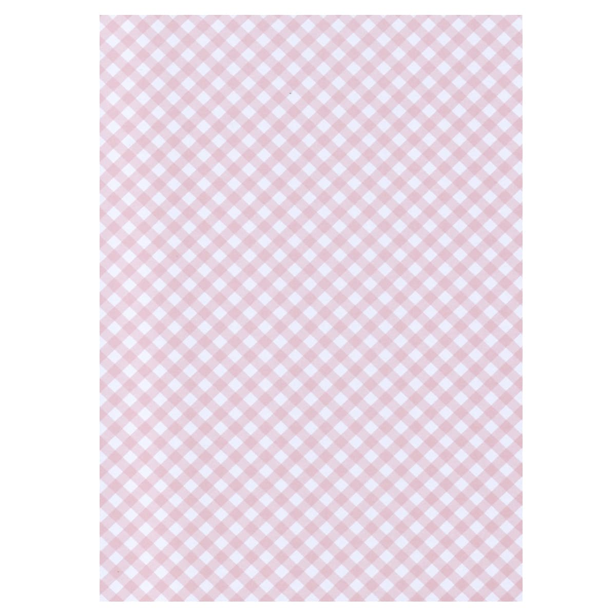 A4 BABY PINK BRILLIANCY CHECK GINGHAM CARD 300 GSM