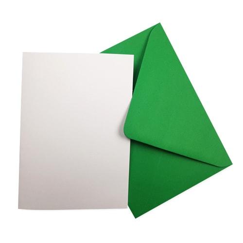 A6 WHITE CARD BLANKS & GREEN ENVELOPES (PACK OF 10)