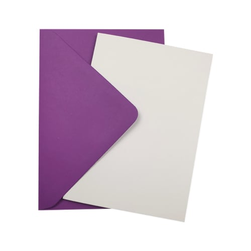 A6 WHITE CARD BLANKS & PURPLE ENVELOPES (PACK OF 10)
