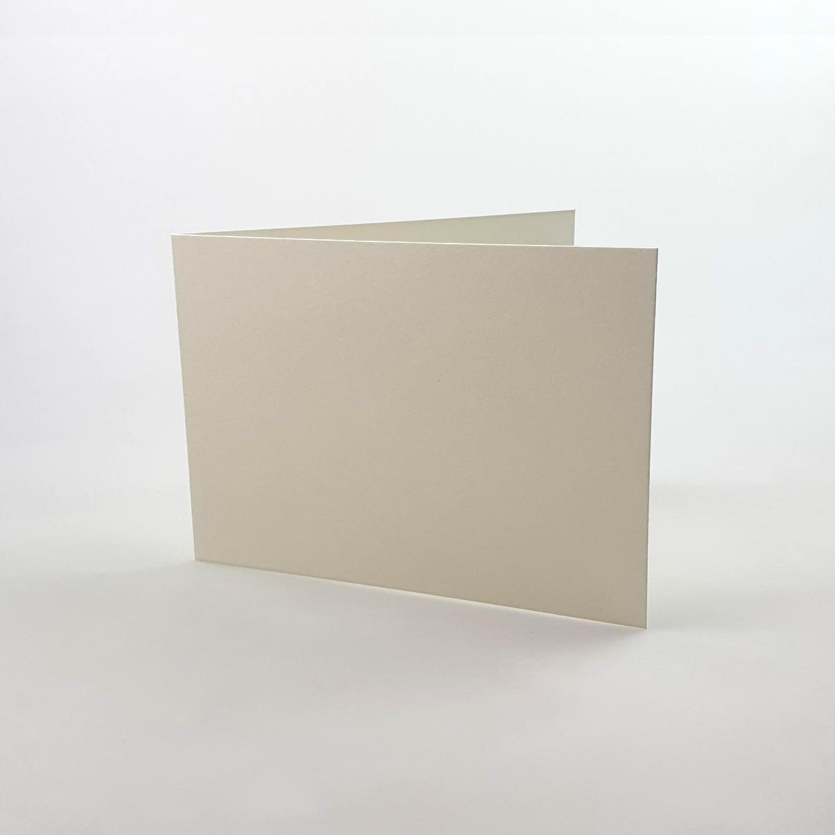 A5 IVORY FINE LINEN SINGLE FOLD CARD BLANKS 300GSM (LANDSCAPE)
