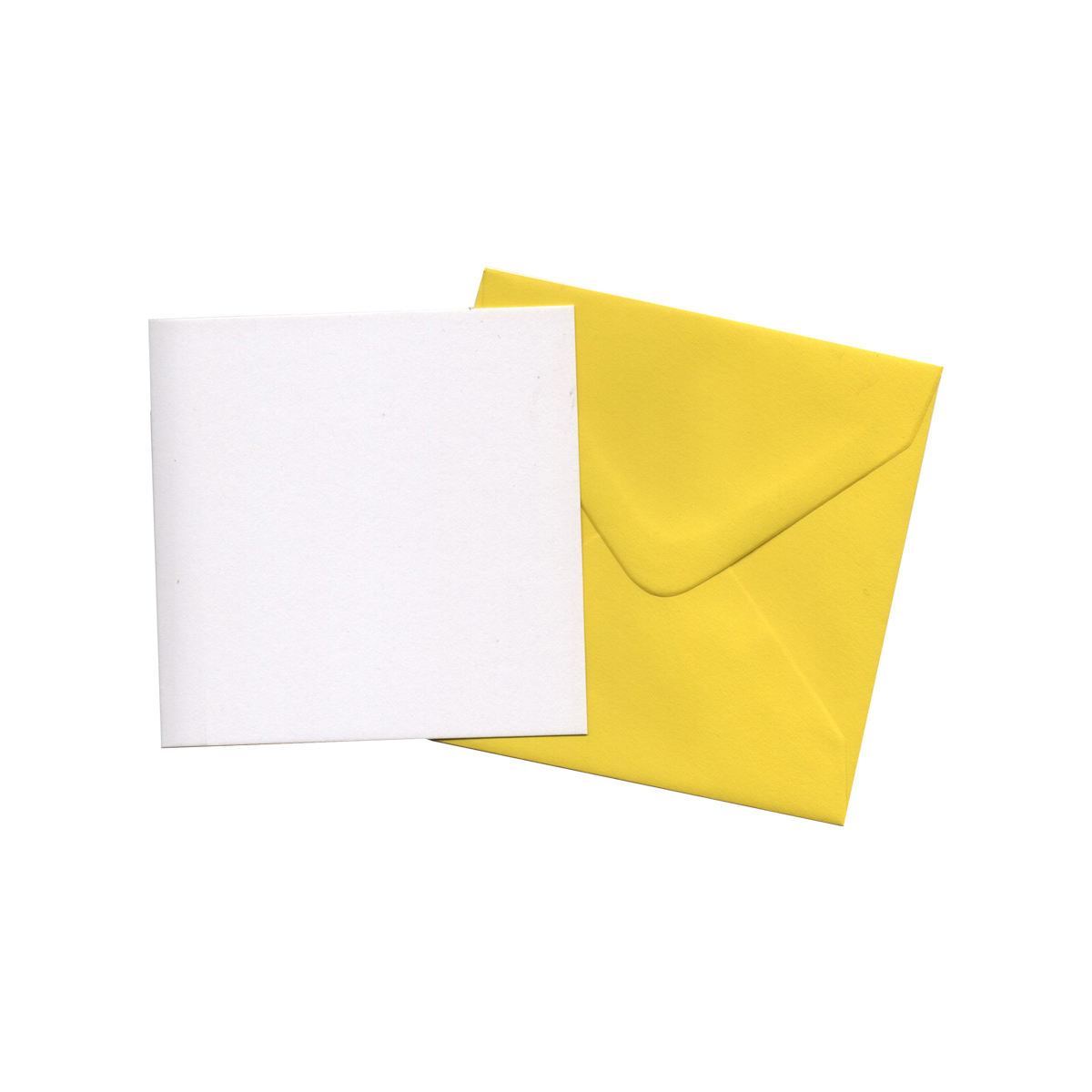 100MM SQUARE WHITE CARD BLANKS WITH YELLOW ENVELOPES (PACK OF 5)