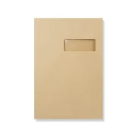 C4 MANILLA GUSSET RIGHT WINDOW ENVELOPES 180GSM