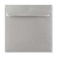 METALLIC SILVER 155mm SQUARE PEEL AND SEAL ENVELOPES 120GSM