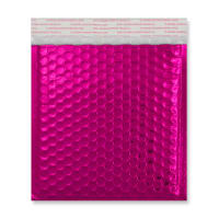 165MM SQUARE GLOSS METALLIC HOT PINK PADDED ENVELOPES