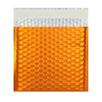 165MM SQUARE MATT METALLIC ORANGE PADDED ENVELOPES