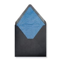 160 x 160mm Black Envelopes Lined With Blue Paper