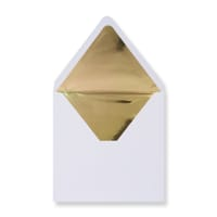 160 x 160mm White Envelopes Lined With Gold Paper