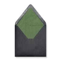 160 x 160mm Black Envelopes Lined With Green Paper