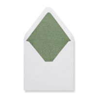 160 x 160mm White Envelopes Lined With Green Paper