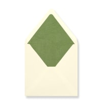 160 x 160mm Ivory Envelopes Lined With Green Paper