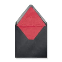 160 x 160mm Black Envelopes Lined With Red Paper