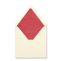 160 x 160mm Ivory Envelopes Lined With Red Paper