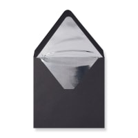 160 x 160mm Black Envelopes Lined With Silver Foil Paper