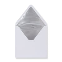 160 x 160mm White Envelopes Lined With Silver Foil Paper