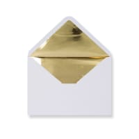 C5 White Envelopes Lined With Gold Foil Paper