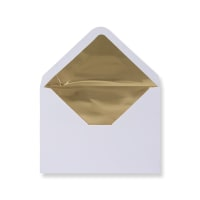 C6 White Envelopes Lined With Gold Foil