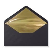 DL Black Envelopes Lined With Gold Foil