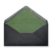 DL Black Envelopes Lined With Green Paper