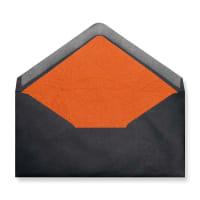 DL Black Envelopes Lined With Orange Paper