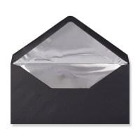 DL Black Envelopes Lined With Silver Foil