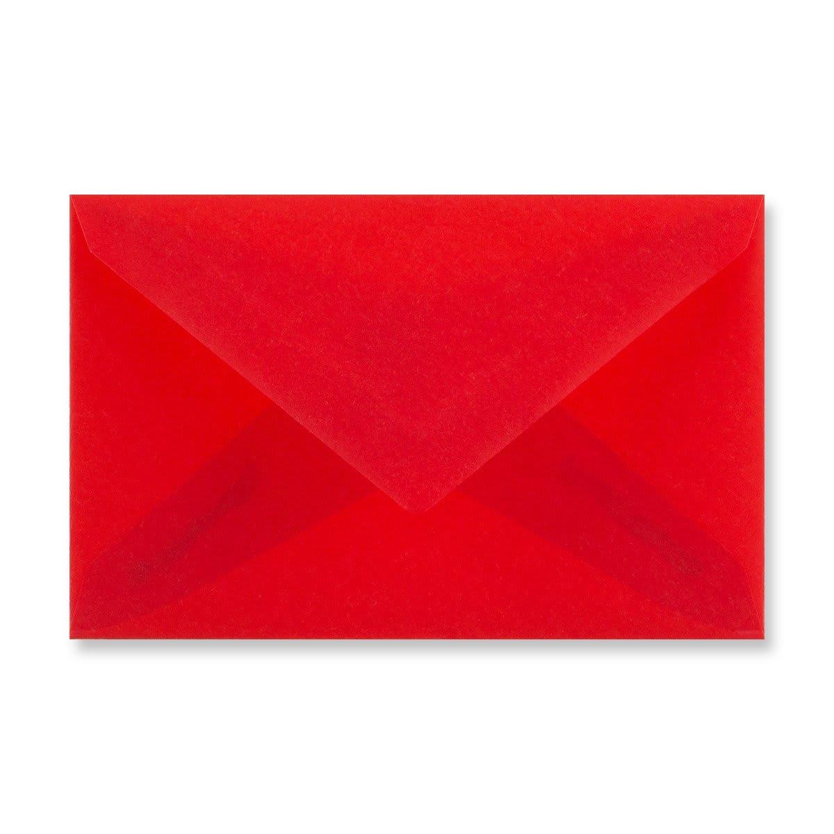 62 x 98MM RED TRANSLUCENT ENVELOPES