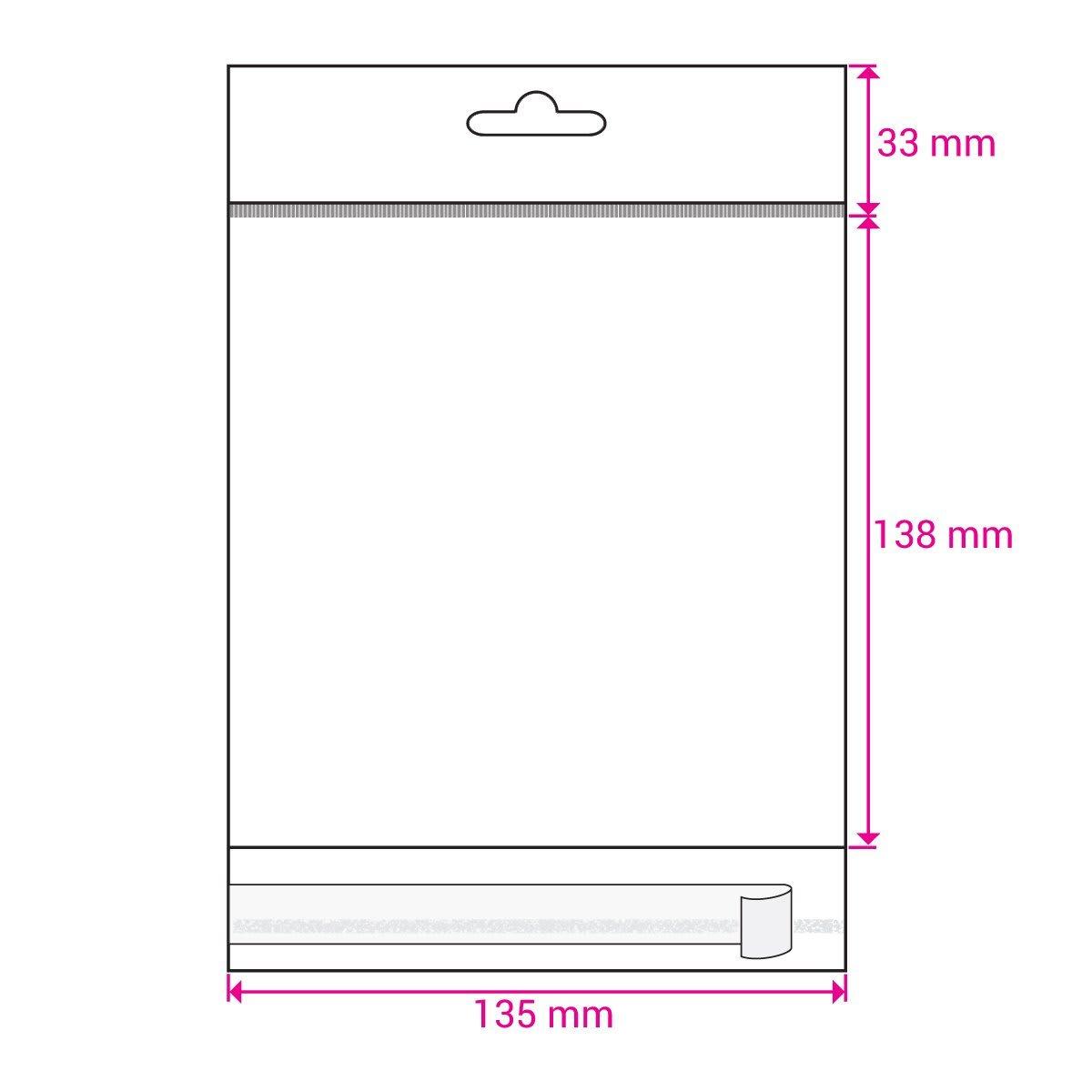 EURO SLOT HEADER BAGS size: 135 x 138 mm. Plus (SELF ADHESIVE)