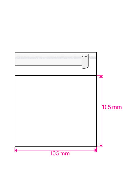 CLEAR CELLO BAGS to fit: 100 mm Square (SELF ADHESIVE)