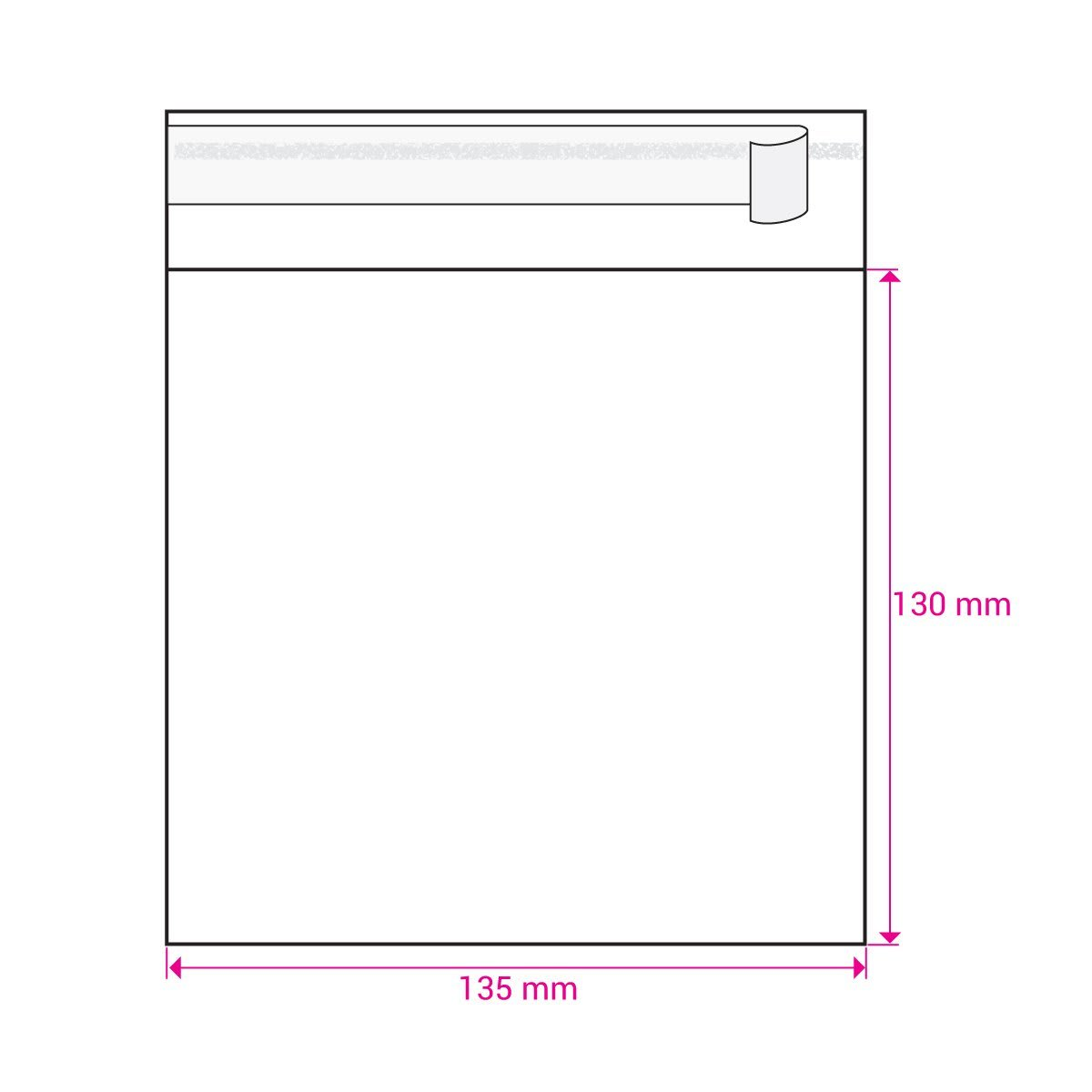CLEAR CELLO BAGS to fit: 130 mm Square (SELF ADHESIVE)