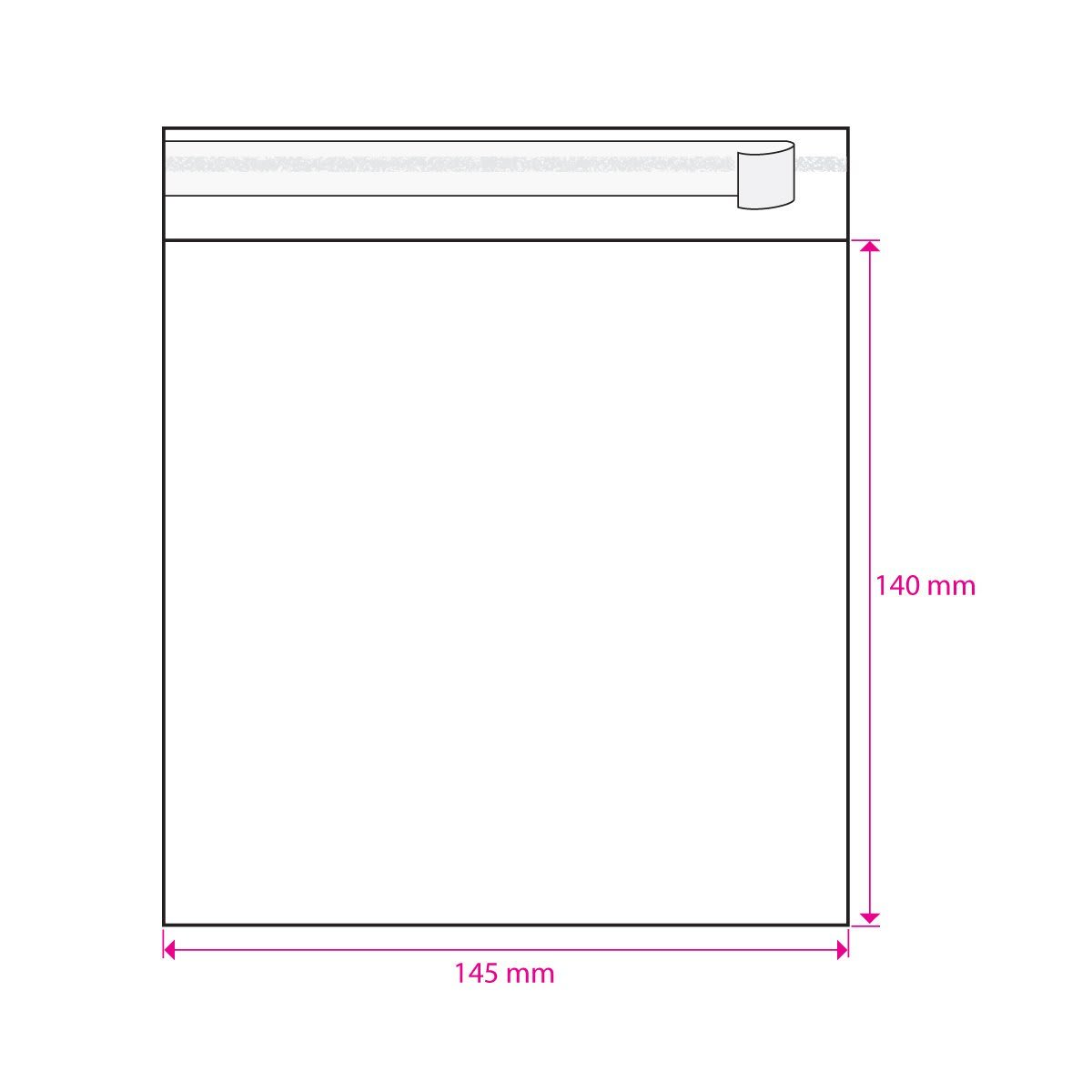 CLEAR CELLO BAGS to fit: 140 mm Square (SELF ADHESIVE)