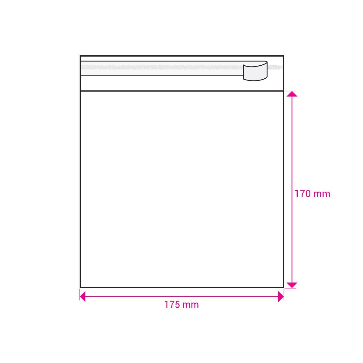 CLEAR CELLO BAGS to fit: 170 mm Square (SELF ADHESIVE)