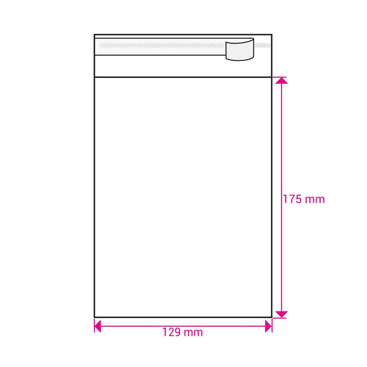 CLEAR CELLO BAGS to fit: 125 x 175 mm (SELF ADHESIVE)
