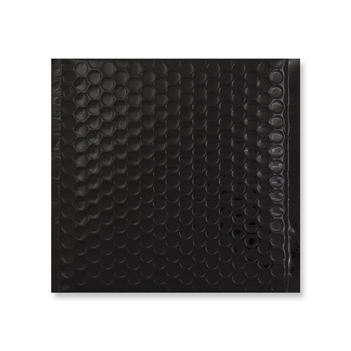 165MM SQUARE GLOSS METALLIC BLACK PADDED ENVELOPES