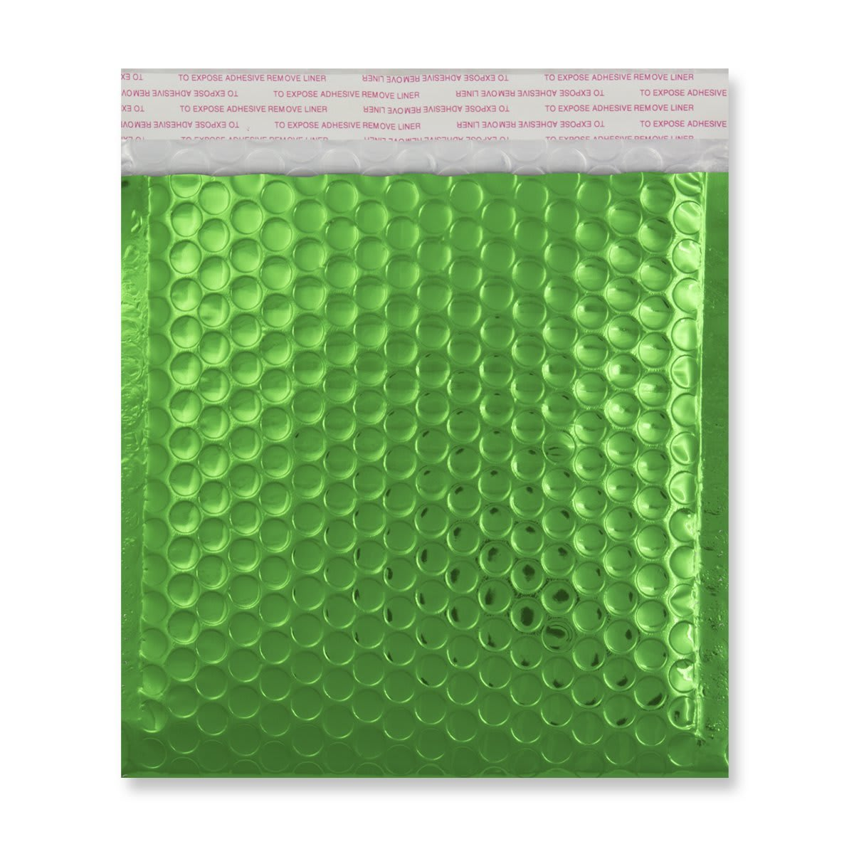 165MM SQUARE GLOSS METALLIC GREEN PADDED ENVELOPES