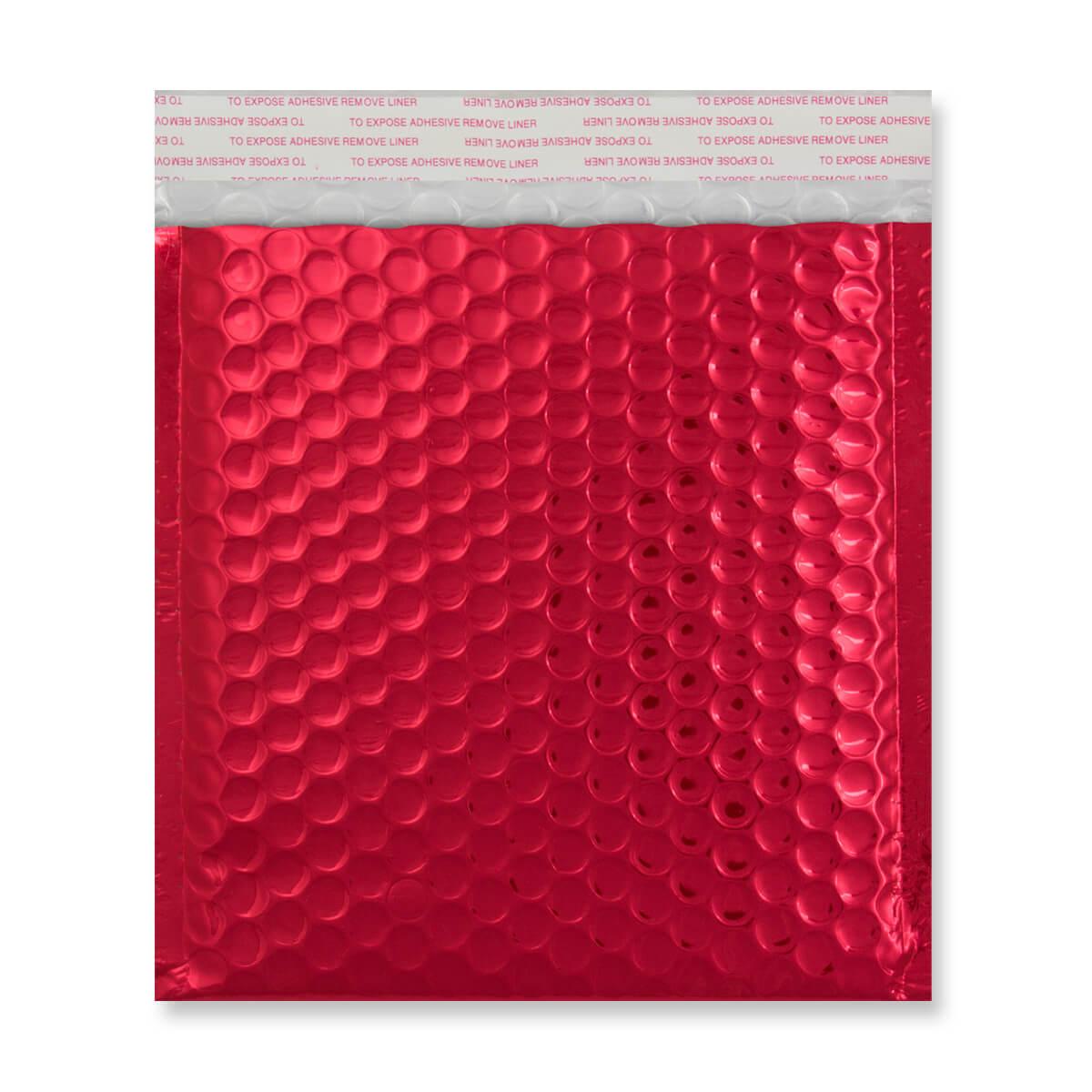 165MM SQUARE GLOSS METALLIC RED PADDED ENVELOPES